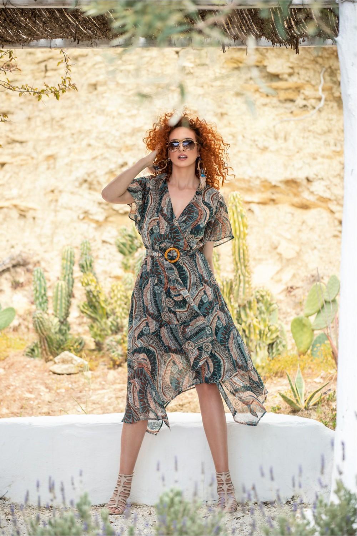 Φόρεμα εμπριμέ με ζώνη OSSIGENO
